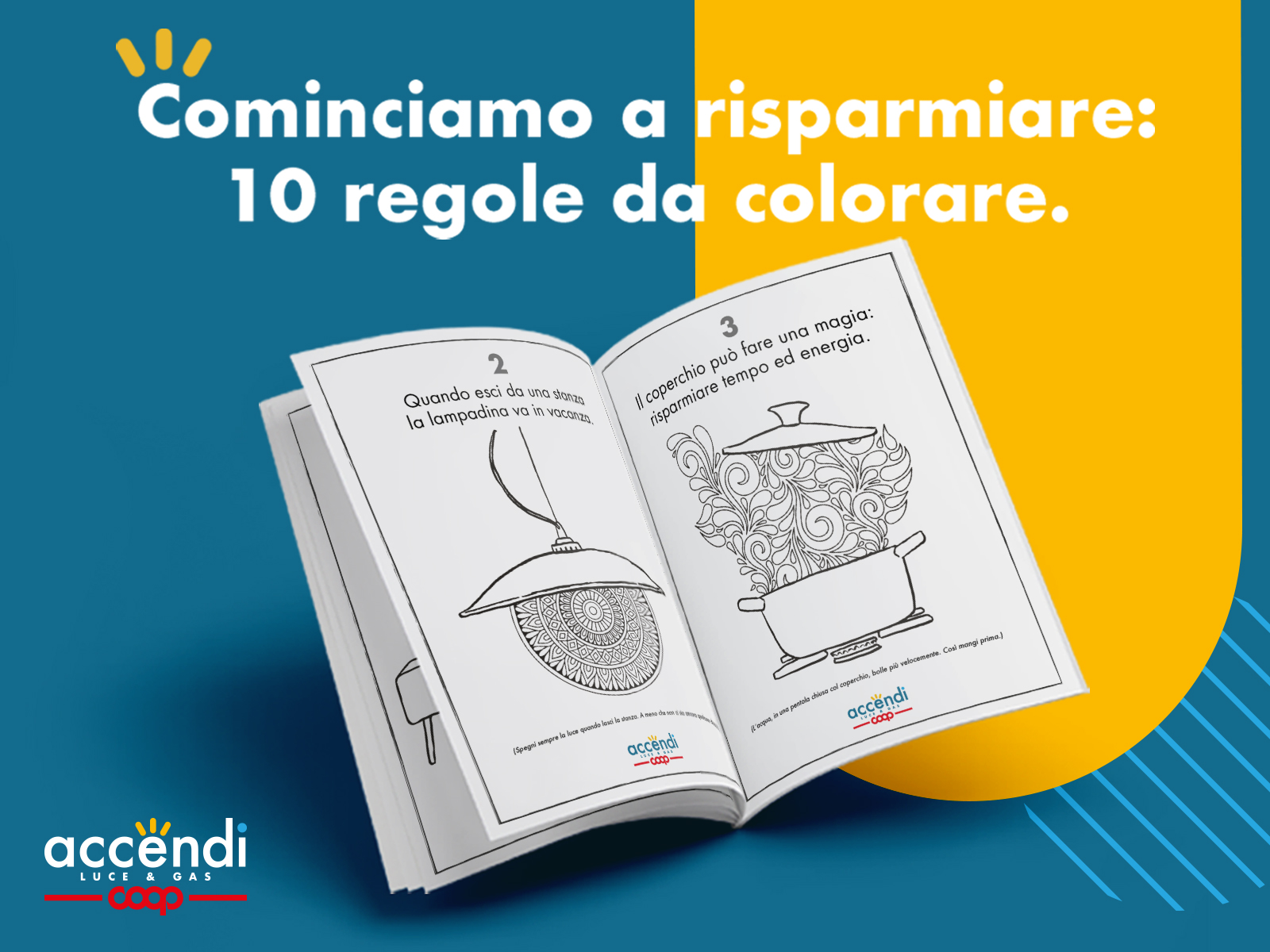 """Anche Accendi Luce e Gas ha lanciato il suo coloring book antistress dal titolo """"cominciamo a risparmiare: 10 regole da colorare"""""""