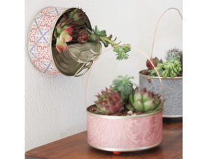 riciclo scatolette tonno vaso verticale