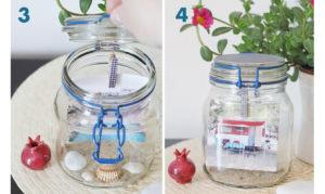 riciclo creativo vasi di vetro in porta-ricordi